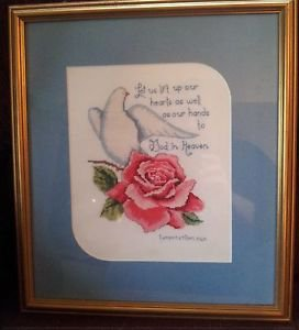 Finished Cross Stitch Lamentations 3:40 DOVE ROSE 17 x 15 Framed