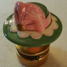 Trinket Box  HAT BOX Porcelain Hinged Box  NEW