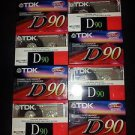 Mixed Lot of 8 New TDK D-90 High Output 90 Minute Blank Audio Cassette Tapes USA