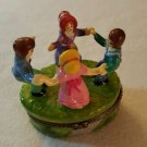 Trinket Box  RING AROUND THE ROSIE Porcelain Hinged Box    NEW