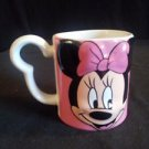 Disney Minnie Mouse mug 3D Minnie face pink white  shaped handle