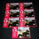 Lot of 7  Maxell UR90 Blank Audio Cassette Tapes 90 Minutes - NEW Sealed