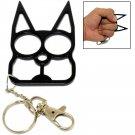 Cat Self Defense Knuckle Key Chain - Black