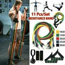 Tribe 11PC Premium Resistance Bands Set, Workout Bands - with Door Anchor, Handles and Ankle Straps