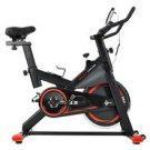 Chromed Flywheel, Silent Belt Drive Indoor Cycle Bike w/Leather Resistance Pad (RED)