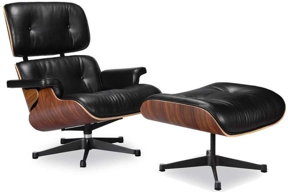 Furniture Eames Lounge Chair and Ottoman Set Full Grain Leather with Walnut Wood (Black)