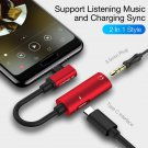 USB C Type-C to 3.5mm Jack AUX Earphone Audio Charger Converter (RED)