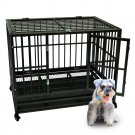 Heavy Duty Dog Crate Large Kennel Cage Metal Playpen Wheels & Tray 36""