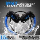 16GB Built-in Memory MP3 Player Bluetooth Headset Running Earphone IPX7 Waterproof (BLUE)