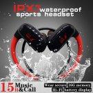 16GB Built-in Memory MP3 Player Bluetooth Headset Running Earphone IPX7 Waterproof (RED)