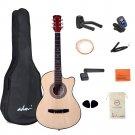 Beginner Acoustic Guitar 38 Inch Steel Strings Blue Bundle Kit with Gig Bag