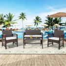 4 Pieces Outdoor Furniture Rattan Chair & Table Patio Set (BROWN)