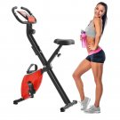 Folding Stationary Upright Indoor Cycling Bike w/Resistance Bands (RED)