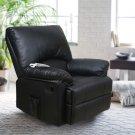 Recliner Chair Massage Rocker with Heated Modern PU Leather (BLACK)