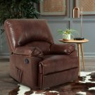Recliner Chair Massage Rocker with Heated Modern PU Leather (BROWN)