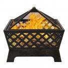"26.4"" Fireplace Backyard Wood Burn Heater Steel Bowl Star Patio Fire Pit"