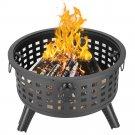 "26"" Round Metal Lattice Fire Pit Fire Bowl Outdoor BBQ Burn Grill Patio Brazier"
