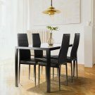 5 piece dining table set for 4, tempered glass dining table, 4 faux leather chairs, black