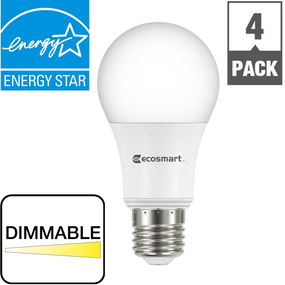 (80) LED 60W Soft White 2700K DIMMABLE EcoSmart A19 9W (60 Watt Equivalent) Light Bulbs
