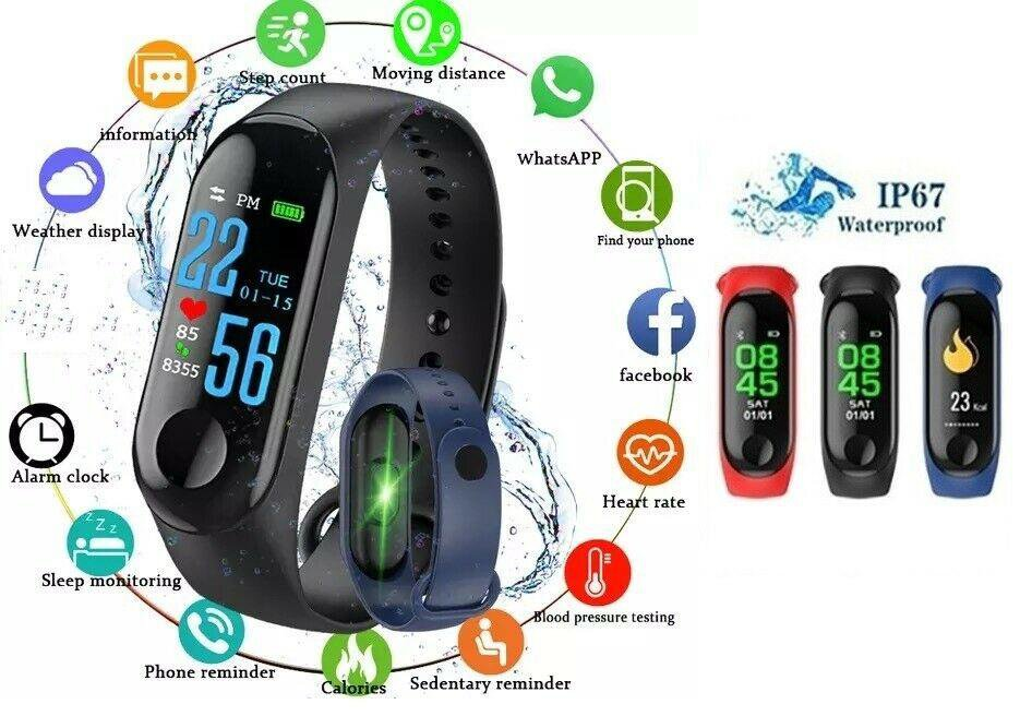 Smart Band Watch Bracelet Wristband Fitness Tracker Blood Pressure HeartRate M3