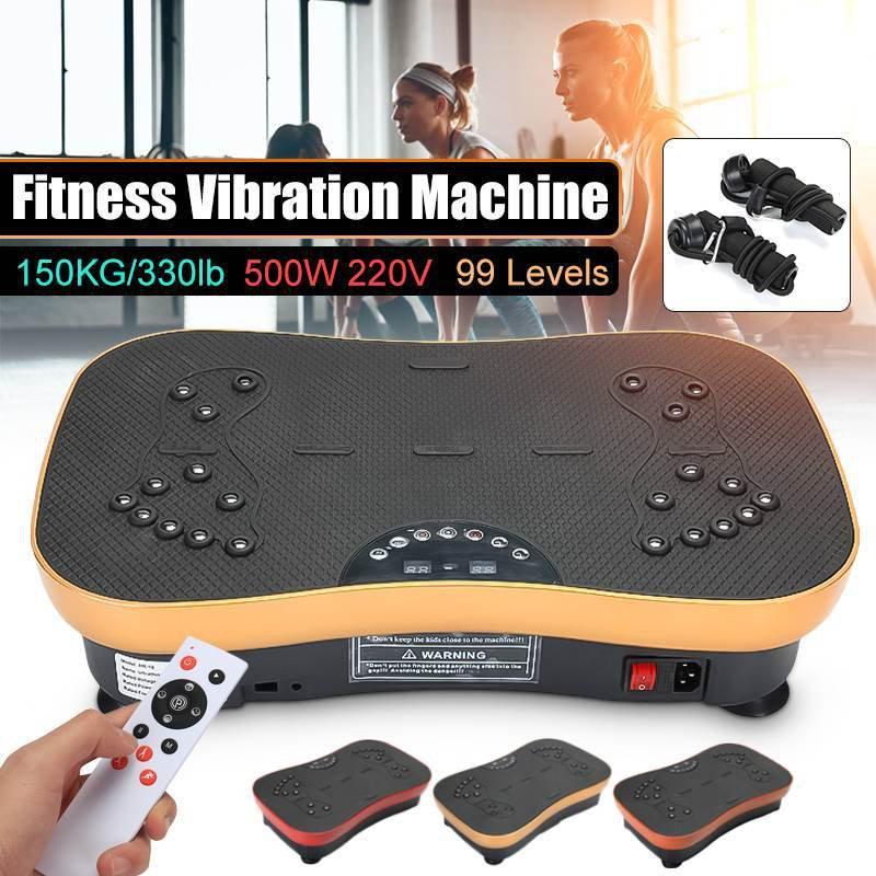 500W 150KG/330lb Exercise Fitness Vibration Plate Machine Platform Body Shaper with Resistance Bands