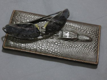 Cow Leather Crocodile Head Long Wallet with Sunglass