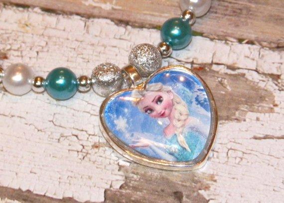 Custom Boutique Disney Elsa Heart Shaped Glass Pendant Necklace