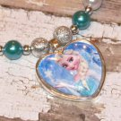 Custom Boutique Disney Elsa Heart Shaped Glass Pendant Necklace