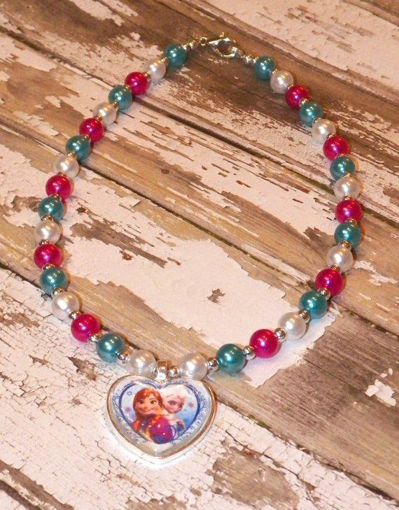 Custom Boutique Disney Frozen Sisters Heart Shaped Pendant Necklace