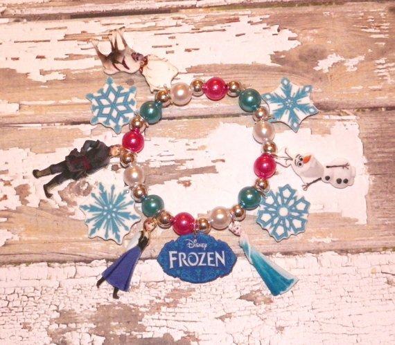 Custom Boutique Deluxe Style Frozen Anna Elsa Olaf Charm Bracelet