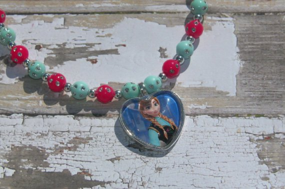 Custom Disney Frozen Anna Heart Glass Pendant Necklace