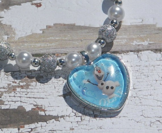 Custom Disney Frozen Olaf the Snowman Glass Heart Necklace