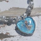 Custom Disney Frozen Olaf the Snowman Glass Heart Necklace