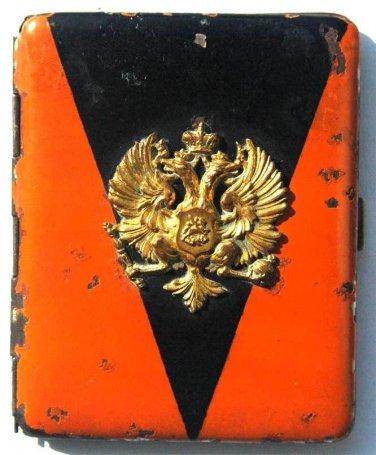original RUSSIAN IMPERIAL CIGARETTE case - ST. VLADIMIR w. badge emblem