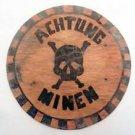 Original German WW2 Plate CAUTION MINES - ACHTUNG MINEN - w. Skull & Crossbones