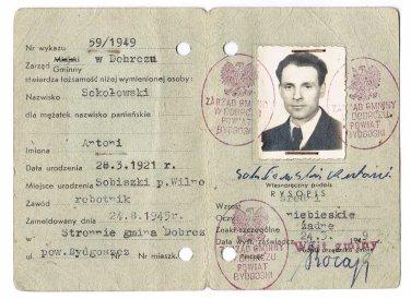 Polish WW2 Temporary Document ID for ex Prisoner of KL, 1949