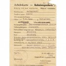 German WW2 Arbeitskarte for Polish worker, 1943, document ID
