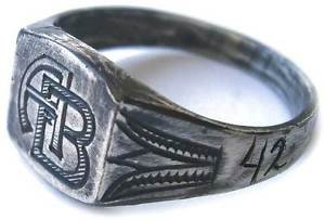 Original Jewish WW2 Sterling SILVER Ring with Initial, 1942 + Owners Name