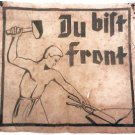 Original Rare German WW2 Large Poster DU BIST FRONT, Handmade painting 1939