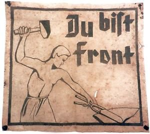 Original Rare German WW2 Large Poster DU BIST FRONT, Handmade painting 1939