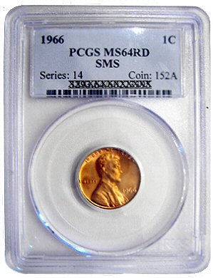 1966 SMS Lincoln Cent PCGS MS64RD Variety Date Smooth Red Glow $26 to grade Sale $19.95