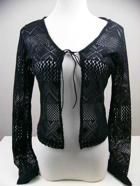 GORGEOUS CROCHET KNIT CARDIGAN OPEN FACE BLACK SHRUG LONG SLV WRAP COVER UP MED