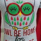 FIPZ HOLIDAY SPARKLE SHIRT TOP SIZE MEDIUM OWL BE HOME FOR CHRISTMAS RED GREY