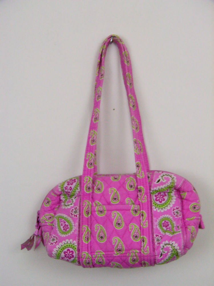 VERA BRADLEY PURSE PINK PAISLEY RETIRED HANDBAG LIME GREEN INTERIOR