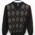 MARCO FIORI ARGYLE ITALIAN WOOL SWEATER BOWN SIZE SMALL