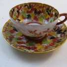 VINTAGE ANTIQUE JAPANESE HAND PAINTED TEACUP & SAUCER MORIAGE GILDED MEN PEOPLE