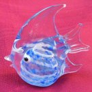 Hand Blown Murano Glass Angel Fish Figurine Blue Sculpture VINTAGE signed 4""