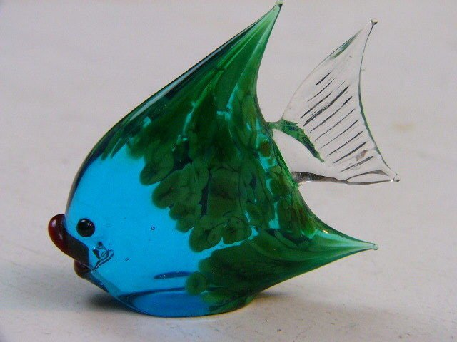 Hand Blown Murano Glass Angel Fish Figurine Blue GREEN Sculpture 1930's signed