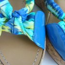 Via Spiga Blue patent Leather & floral open toe Cork Wedge Slingbacks Womens 8M