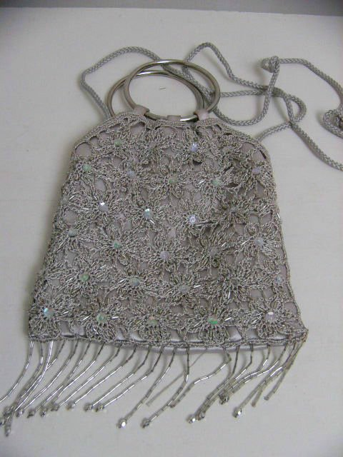 CROCHET LACE BEADED EVENING PURSE BAG STRAP & HANDLE SEQUINED TAUPE TAN BEIGE
